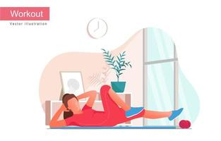 Women doing bicycle crunches exercise, vector illustration