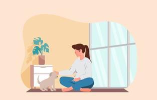 niña jugando con su mascota. ilustración vectorial vector
