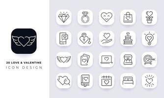 Line art incomplete love And valentine icon pack. vector