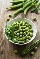 Green peas in white bowl photo