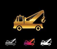 vector de camión de remolque dorado