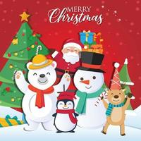Christmas background with Santa Claus and Merry Christmas vector