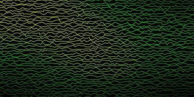 Dark Green, Yellow vector background with bent lines.