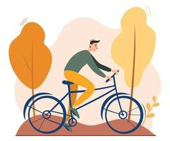 Young man riding bicycle outdoors in autumn park. Vector