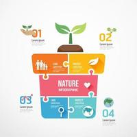 Eco seedlings shape jigsaw. Concept Design infographic vector