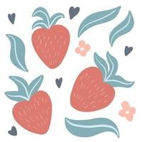 Set of cute hand drawn strawberries, leaves and flowers vector