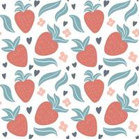 Cute seamless pattern with hand drawn strawberries, leaves, flowers vector