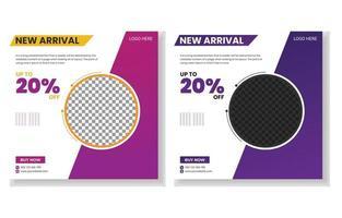 New arrival creative modern social media post template design. vector