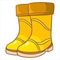 dos botas de goma amarillas para caminar en charcos y barro. vector