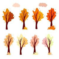 Set Abstract autumn tree and cloud. Ornamental plant. Cartoon style. vector