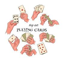Gambling. Playing cards in hand. Casino, fortune, luck. Big set. vector
