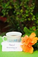Cup of tea with text good morning. photo