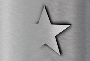 Estrella en acero inoxidable, fondo de textura de metal foto