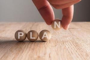 Hand putting on plan word written in wooden ball photo