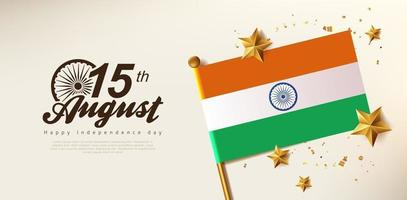 Independence day India celebration banner with Realistic gold star vector