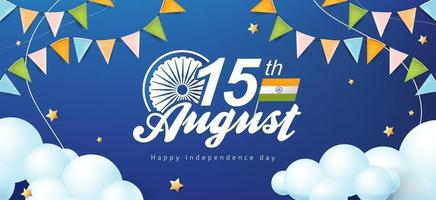Independence day India celebration banner with star and cloud vector
