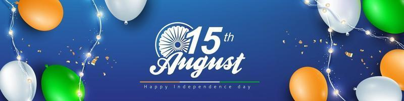Independence day India celebration banner with balloon vector