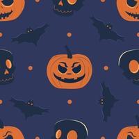 Seamless vector pattern with pumpkin head, skull and bats