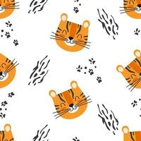 Cute seamless baby pattern with cartoon tiger head and paw prints vector