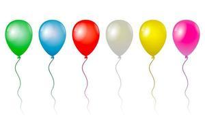 globos voladores aislados sobre fondo blanco, ilustración foto