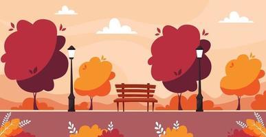 Parque de la ciudad de otoño con árboles, arbustos, banco, farola. vector
