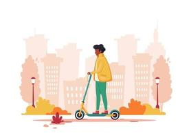 Black man riding electric scooter on city background. Eco transport vector