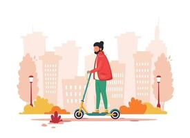 Man riding electric scooter. Eco transport concept vector
