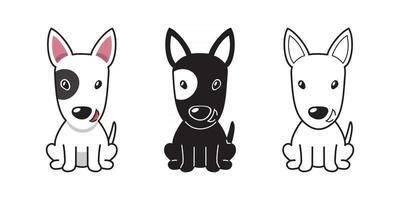 vector, caricatura, conjunto, de, bull terrier, perro vector