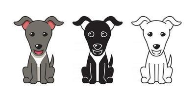 Vector cartoon set of greyhound dog