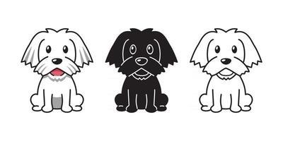 Vector cartoon set of maltese dog