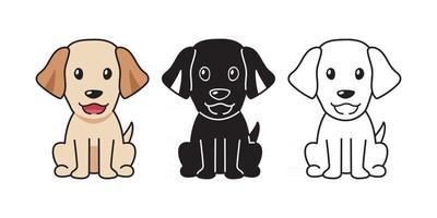 Vector cartoon set of labrador retriever dog