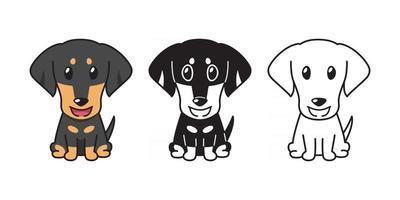Vector cartoon set of dachshund dog