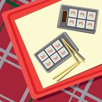 Set for rolls lying on a tray, checkered tablecloth - Vector