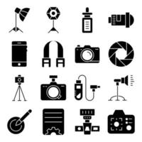 Pack of Photography Solid Icons vector
