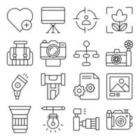 Pack of Photographic Equipment Linear Icons vector