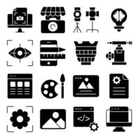 Pack of Photographic Instruments Solid Icons vector