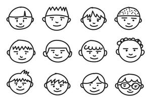 Collection of boys freehand drawing emoticons. vector