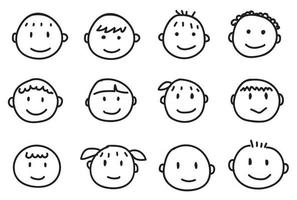 Collection of babies freehand drawing emoticons. vector