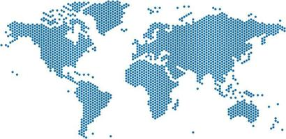 Blue dots world map on white background vector
