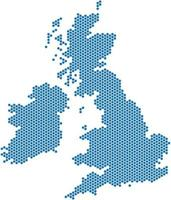 Blue hexagon shape United Kingdom map on white background vector