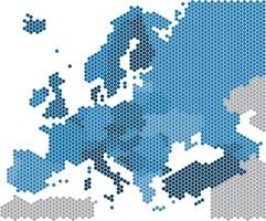 Geometry hexagon form of Europe map on white background vector