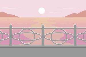 Sunset at seascape flat color vector illustration