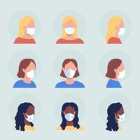 Ladies with white masks semi flat color vector character avatar set