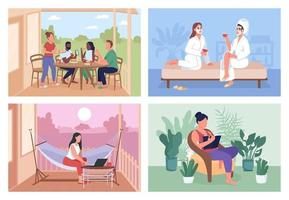 Home party flat color vector illustration set