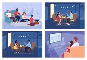 Home relaxation flat color vector illustration set