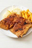 Grilled spicy barbecue kurobuta pork steak with french fries photo