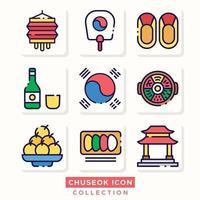 Korean Autumn Festival Chuseok Icon vector