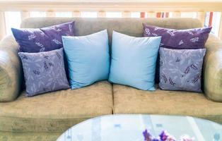 Comfortable pillows decoration on sofa photo