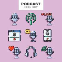 Podcast Icon Set vector