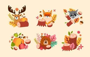 Nature Flora and Fauna Badges vector
